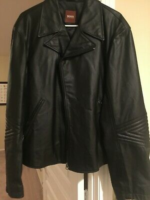 Hugo Boss Men's Black Leather Jacket - Size 46 Regular