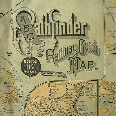 ABC Pathfinder Railway Guide Map Eastern Division 1880? - antique US railroad RR