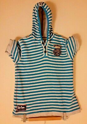 Lee Cooper Vintage Style short sleeved hoodie blue and white hoops age 11-12