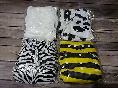 Happy Flute Cloth Diaper Lot of 4 with double inserts each unisex adjustable