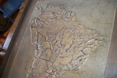 ANTIQUE 1895 Central School House Supply SOUTH AMERICA  Relief Map