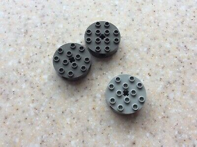 4x4x2 Light Gray  Round Technic w// Center and Side Holes  ~ Lego  ~ NEW ~ 3