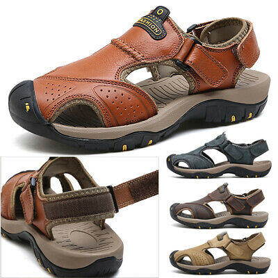 Men's Outdoor Hiking Leather Sandals Closed Toe Beach Camping Fisherman Shoes US
