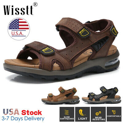 Mens Air Cushion Leather Sandals Adjust Strap Open Toe Sport Beach Walking Shoes
