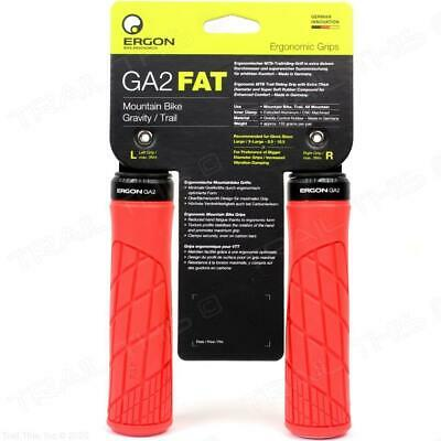 Ergon GA2 Fat Grips Risky Red Lock On Extra Thick 136mm Round 135g Flangeless