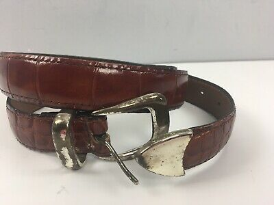 Vtg Mens Alligator Grain Brown Cowhide Leather Belt Size 42 105 Made in USA