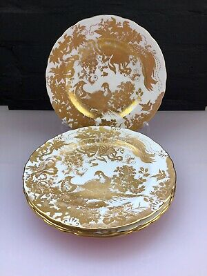 "4 Royal Crown Derby Gold Aves A. 1235 Salad Plates 8.5"" Wide Last Set Available"