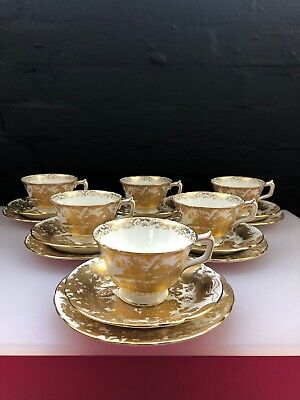 6 x Royal Crown Derby Gold Aves A1235 Tea Trios Cups Saucer Side Plates 1964/65