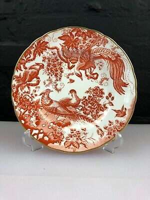 "Royal Crown Derby Red Aves Salad / Dessert Plate 8.5"" Wide Set"