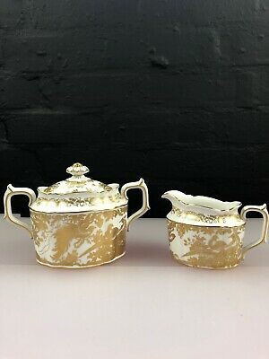 Royal Crown Derby Gold Aves A. 1235 Lidded Sugar Bowl and Milk / Cream Jug 3""