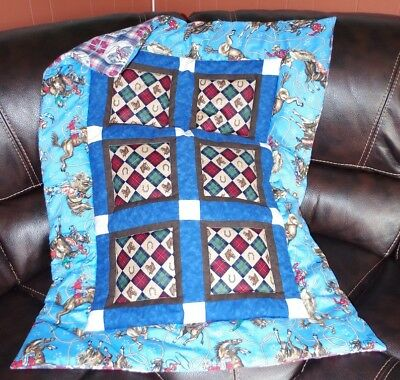 Handmade Patchwork Rodeo Cowboy Bronk Horse Baby Quilt Cotton Blanket