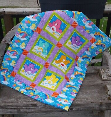 Handmade Rainbow Care Bear Baby Patchwork Quilt Cotton Blanket Unique