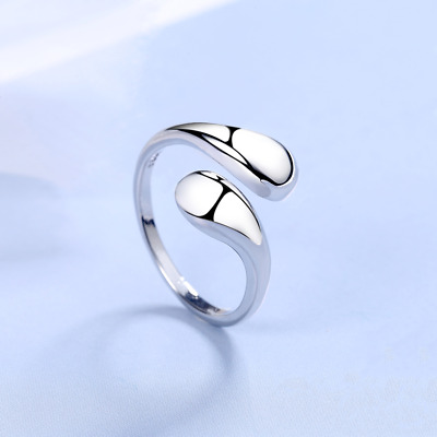 925 Sterling Silver Polished Stone Adjustable Ring Womens Girls Jewellery Gift