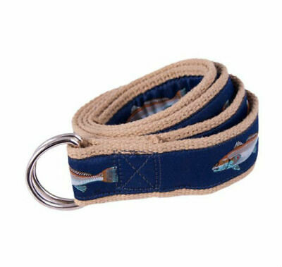MOONSHINE Sailboat Nautical Canvas Ribbon Embroidered D-Ring Belt NEW