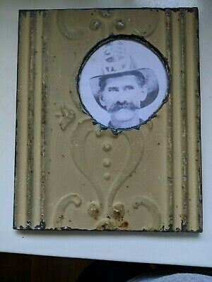 Vintage Metal Tin Ceiling Tile Photo Picture Frame Salvage Tile Victorian