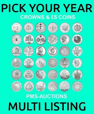 Royal Mint Crowns & Unc £5 Five Pound Coins 1965-2020 Choose From List