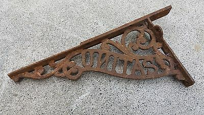 Ornate Cast Iron Unitas Sign Display Shop Theatre Window Antique Wrought Outdoor