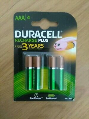 DURACELL RECHARGE PLUS Ni-MH AA Rechargeable Batteries 750mAh 4 Pack genuine uk
