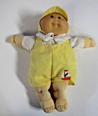 Vintage Cabbage Patch Kids Baby Doll Blonde Boy Green Eyes  One Dimple w Outfit