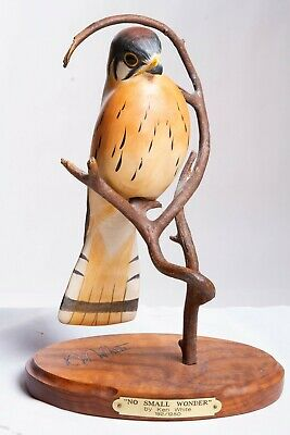 "Limited Ed. 182/1250 ""No Small Wonder"" carved Kestral Bird by Ken White Big Sky"