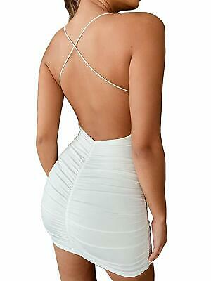 just quella Women Sexy Clubwear Backless Party Dresses Spaghetti Strap Bodycon M
