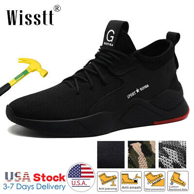 Men's Safety Work Shoes Steel Toe Work Boots Indestructible Lightweight Sneakers