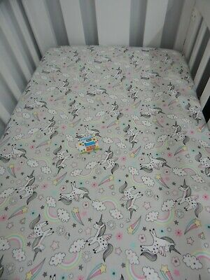 Flannelette Cot Fitted Sheet Unicorns Grey