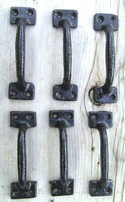 """6 ea 4"""" Cast Iron Gate Pull Door Drawer Shed Pull Handle Black Finish"""