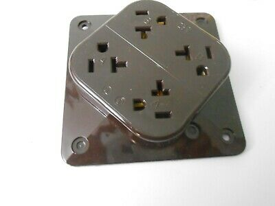 HUBBELL WIRING DEVICE HBL420 20A 4 PLEX Receptacle 125VAC BROWN