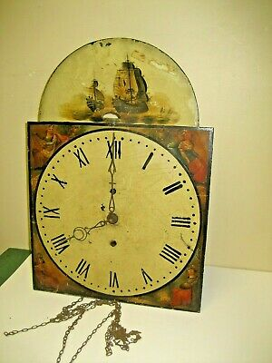 ANTIQUE ENGLISH TALL CASE GRANDFATHER CLOCK MOVEMENT ROCKING SHIP DIAL 1800's