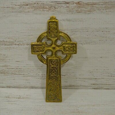 Brass Celtic Cross Wall Hanging Religious Irish Church Holy Large Heavy