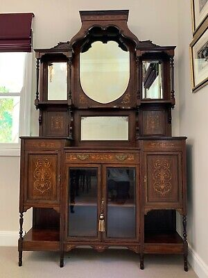 Antique Late Victorian Mirrored Sideboard/ Display Cabinet - Rosewood