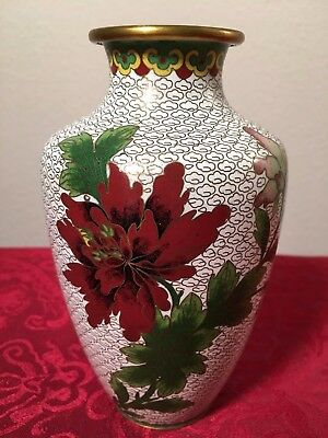 White Cloisonne Vase (Antique Chinese China Asia Floral Flower Brass Rose Bird)