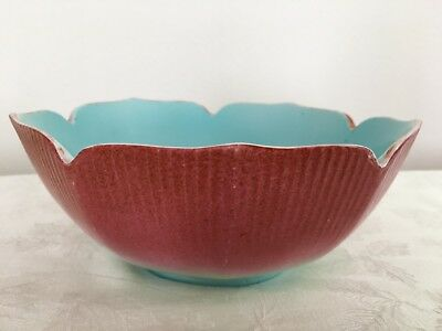 Chinese Porcelain Bowl (Old Vintage Red Blue Qianlong China Peach Lotus Marked)