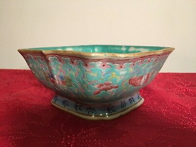 Antique Chinese Porcelain Bowl ( China Aquamarine Green Rose Square Marked Art )