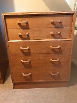 50's Retro Vintage G Plan Oak Wardrobe, Chest Of Drawers And Bedside Table