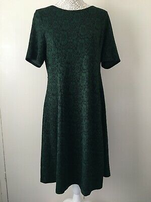 Ladies Green & Black Jersey Red Herring Short Sleeve Maternity Dress - Size 12