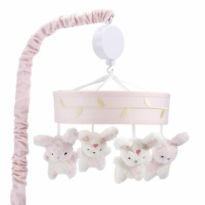 Lambs & Ivy Confetti Pink/Gold/White Bunny Musical Baby Crib Mobile