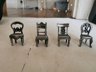 Antique Elegance silver Miniature WINNERS Chairs new boxed