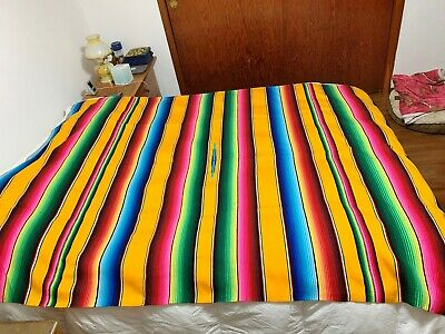 Vintage Serape Southwestern Mexican Folk Aztec Woven Blanket Bright & Beautiful