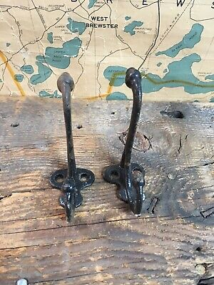 ANTIQUE Victorian CAST IRON ACORN FINIAL COAT HOOK 2 PRONG Architectural Salvage