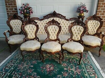 Attractive Victorian Laminated Rosewood J & Jw Meeks Stanton Hall Parlor Set