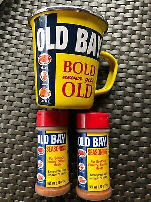 Old Bay Seasoning for Seafood, Poultry Meats 2 Shaker Bottle and MUG dent on lip