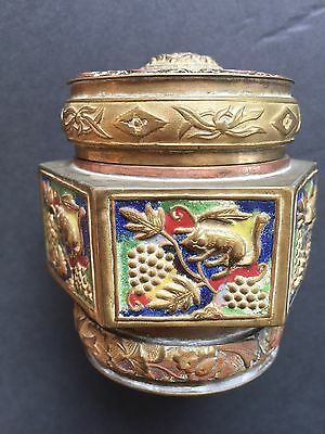 Antique Chinese Champleve Brass Enamel Tea Caddy Spice Jar Hexagonal Snuff Box