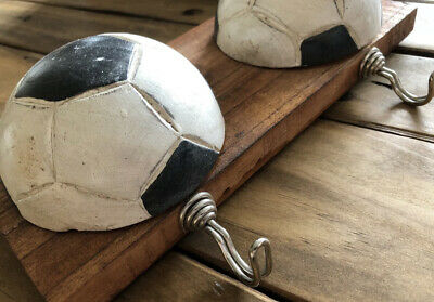 Wooden handcrafted football plaqe wall art coat hook ball games room unusual