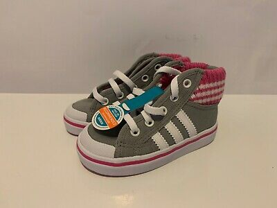 Adidas Originals Nizza Mid Girls Kids Grey White Pink Uk 5