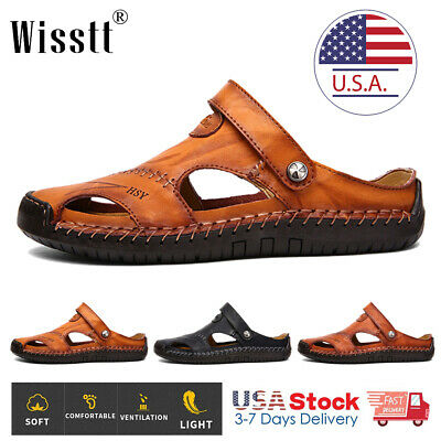 Men's Leather Closed Toe Outdoor Sandals Casual Shoes Fisherman Beach Breathable
