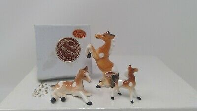 Set of 3 ArtMark Miniature Bone China Horse Family Figurines - Rearing
