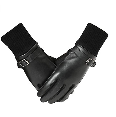PAGE ONE Womens Driving Gloves - Touchscreen Leather Gloves Size Large Black