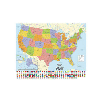 "24""x36"" USA Map With Flags Poster Canvas Prints Home Office Decor PB10"
